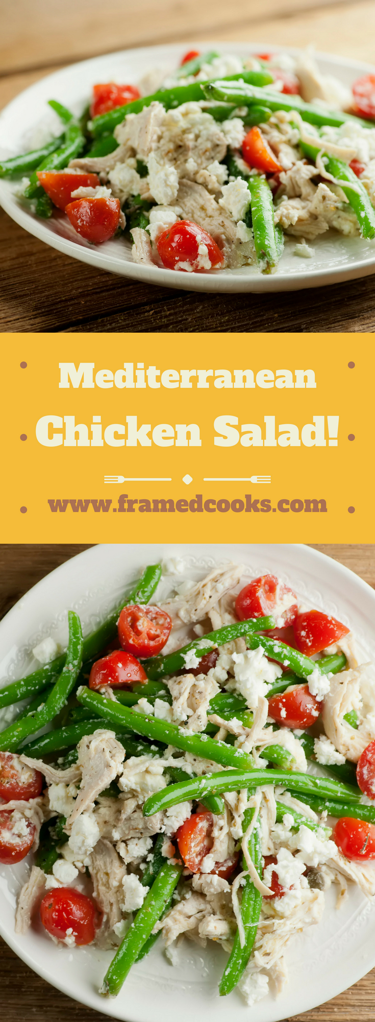 Chicken salad takes on a European flavor in this fresh summer recipe! Mediterranean chicken salad features feta cheese with tomatoes and green beans, spicy capers and aromatic oregano for a light and delicious spin on the classic lunchtime favorite.