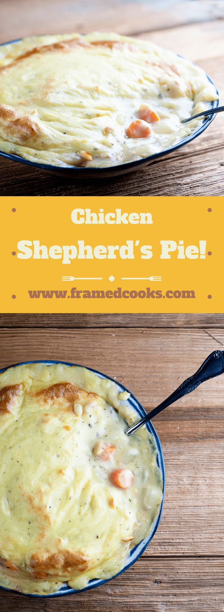 This easy recipe for chicken shepherd's pie converts the classic beef supper to a lighter chicken version.  Comfort food to the max!