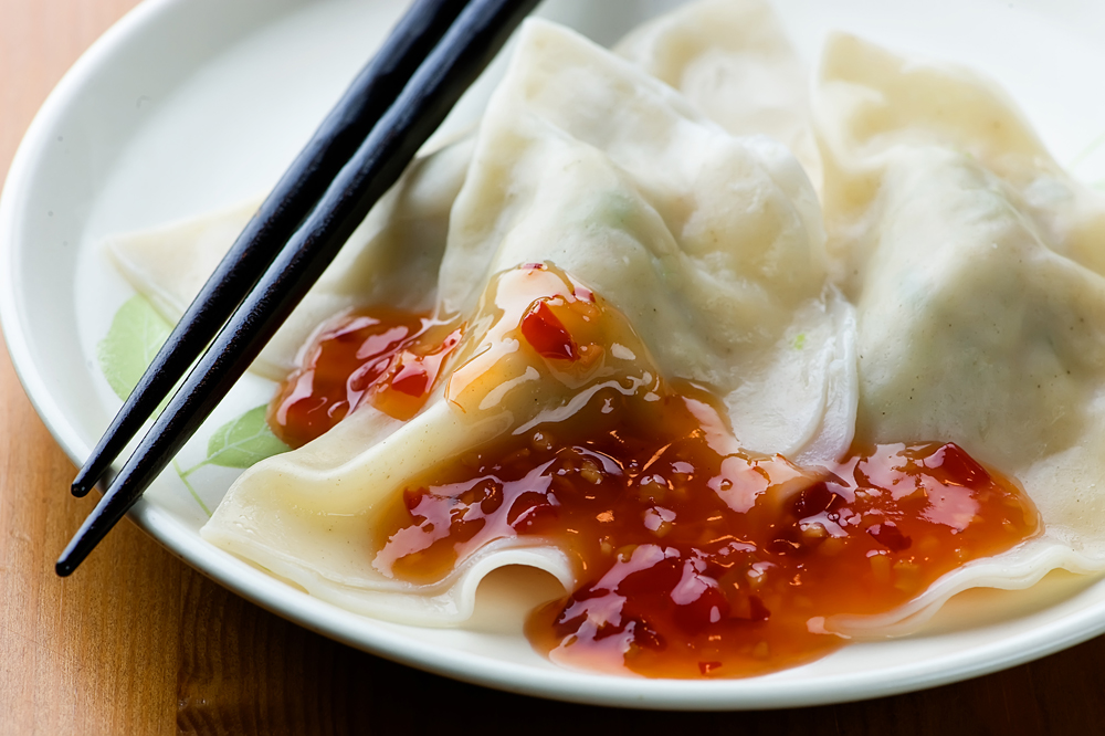 pork dumplings with ginger sauce