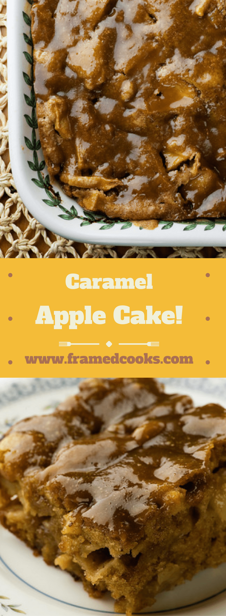 This recipe for caramel apple cake is packed with spicy apples and topped with a decadent caramel glaze.  All your apple cake dreams come true!