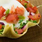 Cheddar Jalapeno Huevos Rancheros in Tortilla Cups