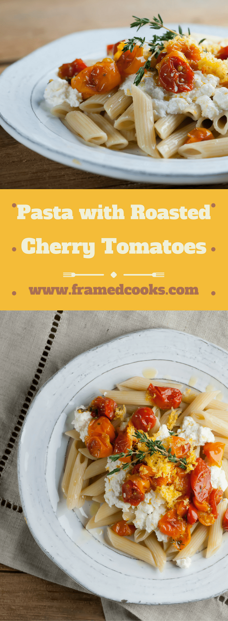 This easy recipe for penne with roasted tomatoes and fresh ricotta gives a whole new meaning to pasta with tomato sauce! Simple and delicious.