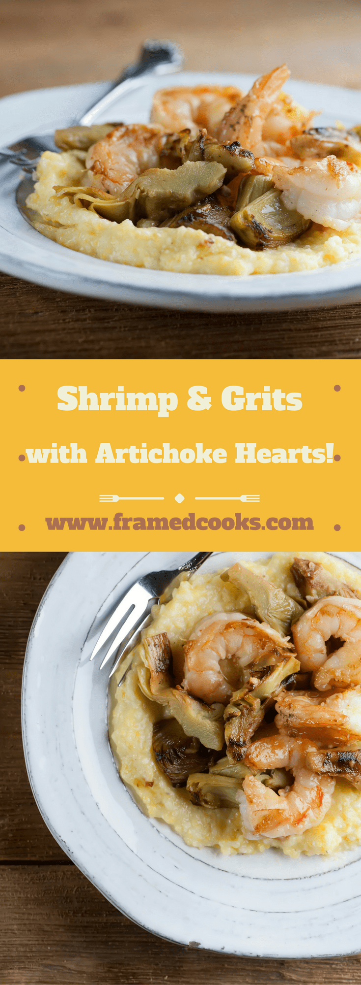 Kick your shrimp and grits up a notch by adding artichokes! This easy recipe for shrimp and grits with artichoke hearts is a perfect comfort food supper.