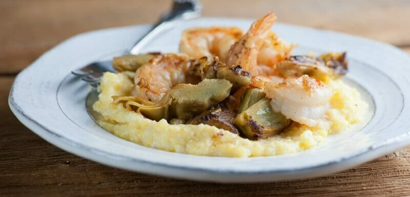 shrimp and grits with artichokes