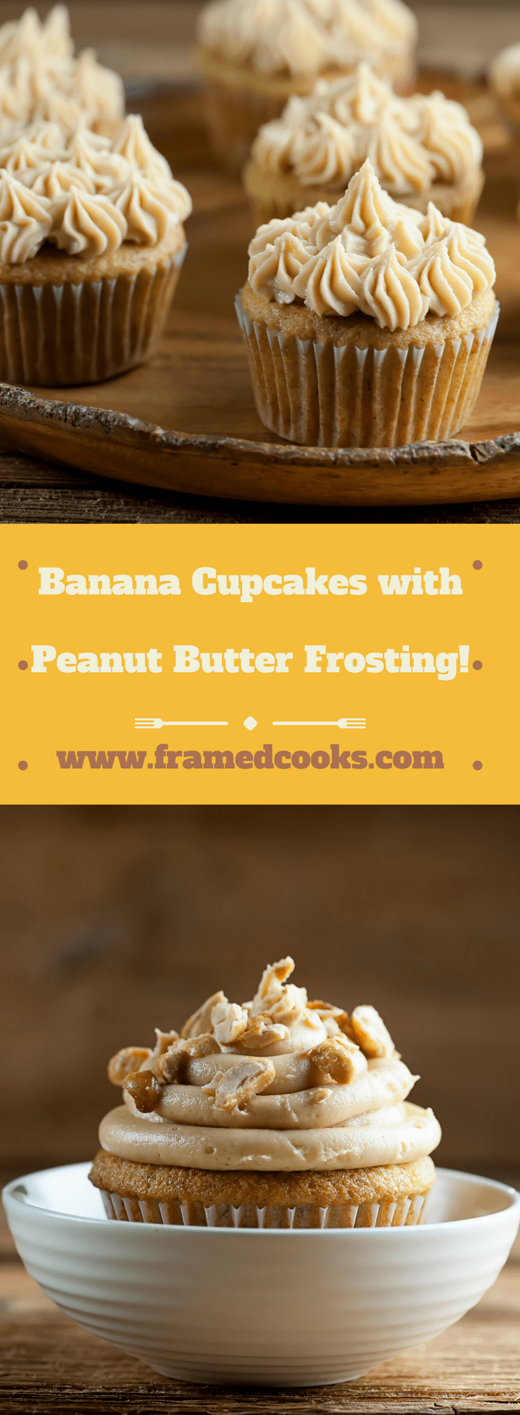 This fun recipe for banana cupcakes with peanut butter frosting takes two favorite flavors and puts them together in one delicious dessert!  Oh, and it's a great way to use up leftover bananas.