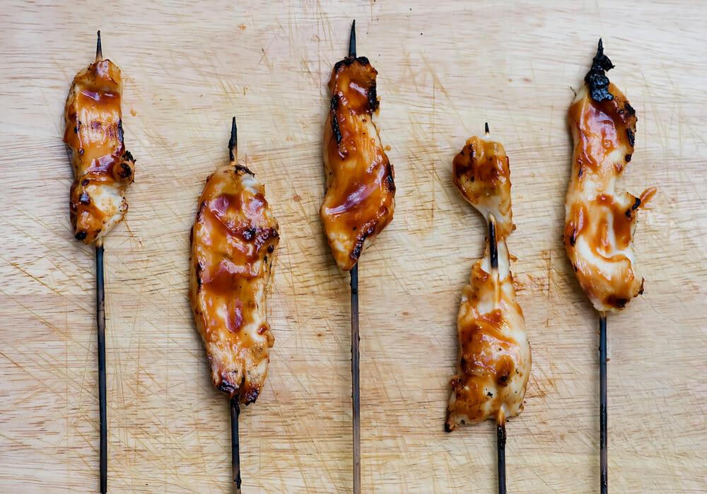 easy honey chicken skewers