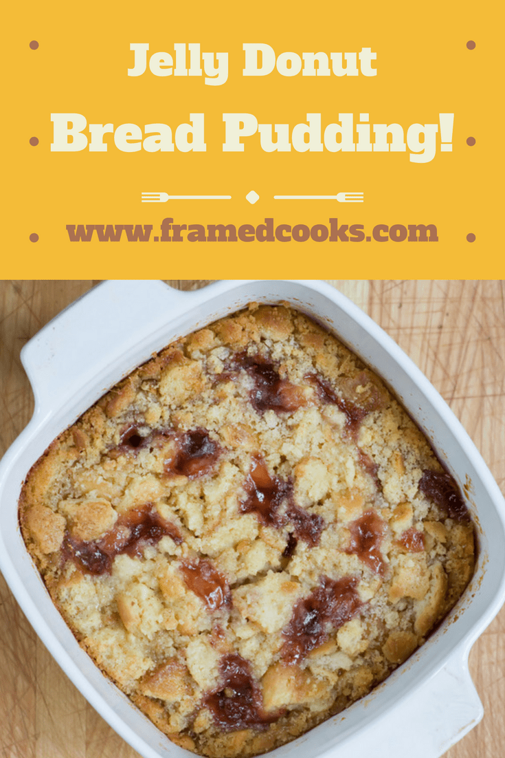 Don't let those extra donuts go to waste!  Use leftovers for this delectably easy jelly donut bread pudding, which may then turn into your favorite dessert!
