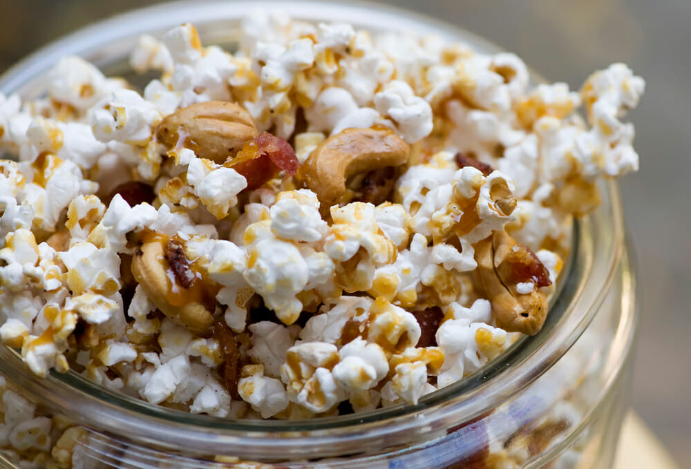 easy bacon cashew caramel popcorn