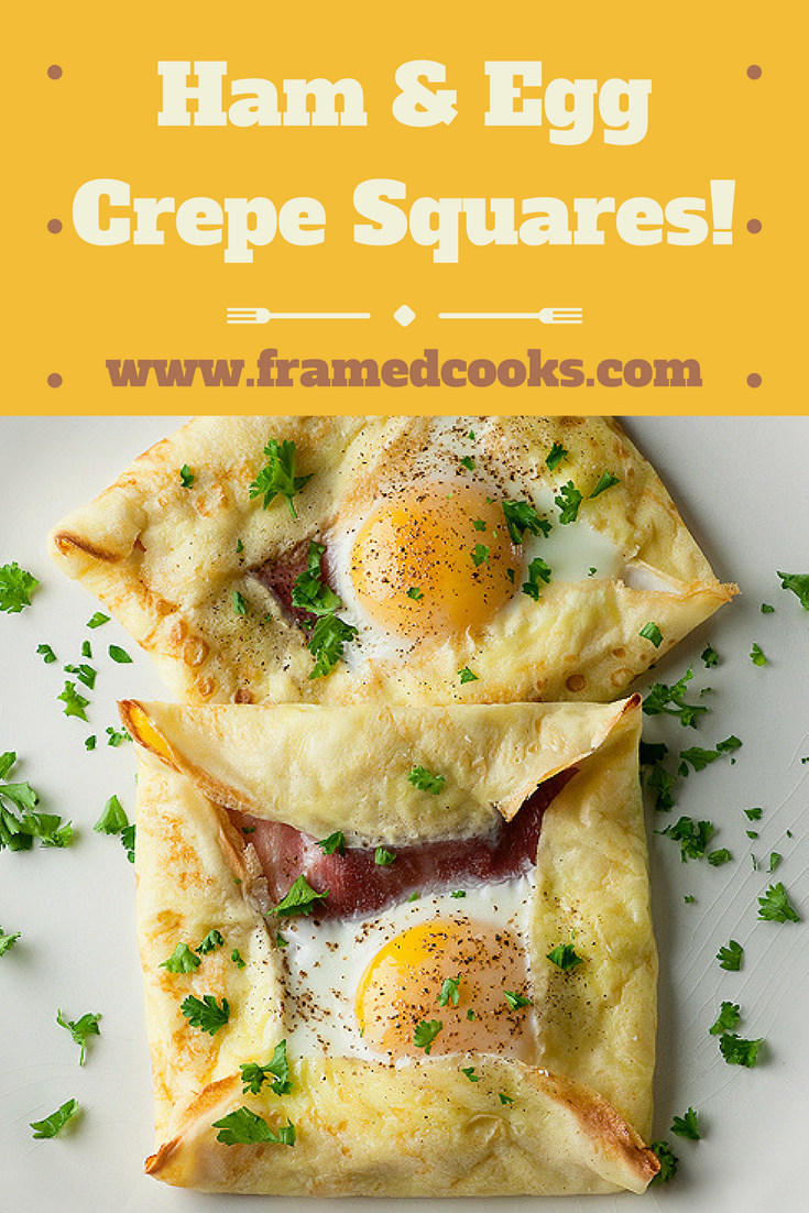 These perfect little packages of sunny side up egg and ham all wrapped up in a soft crepe are a treat for breakfast, lunch or dinner!