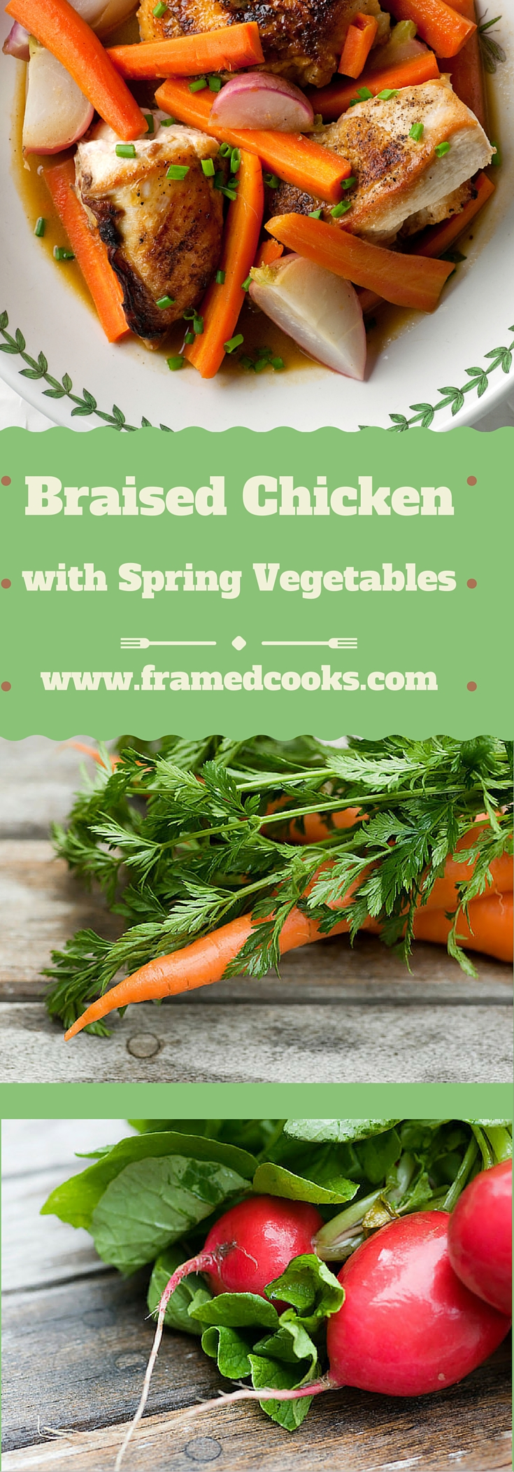Chicken, radishes and carrots simmer up tenderly in this easy recipe for braised chicken with spring vegetables.  Think spring!