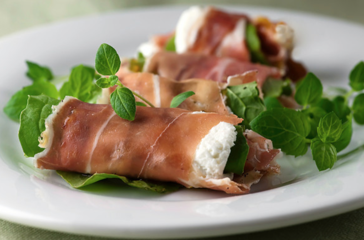 Prosciutto Rolls with Goat Cheese, Arugula and Fig Spread - Framed ...