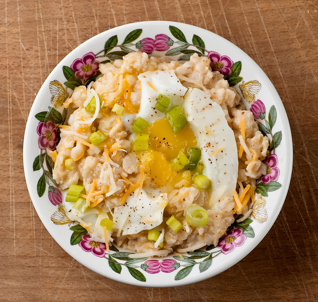 Savory Oatmeal with Soft-Cooked Egg and Cheddar - Framed Cooks