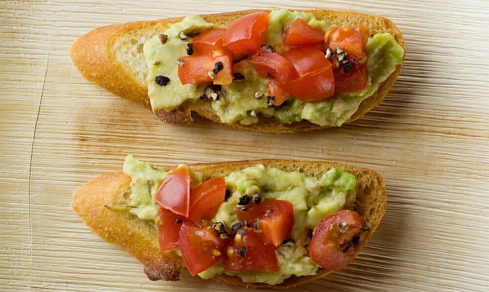 tomato avocado crostini