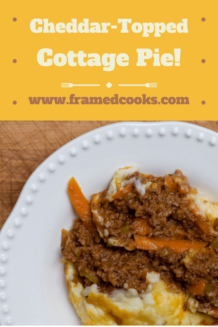 Cheddar topped cottage pie will take your cottage pie to new heights of deliciousness by mixing some cheddar cheese into the mashed potato topping!