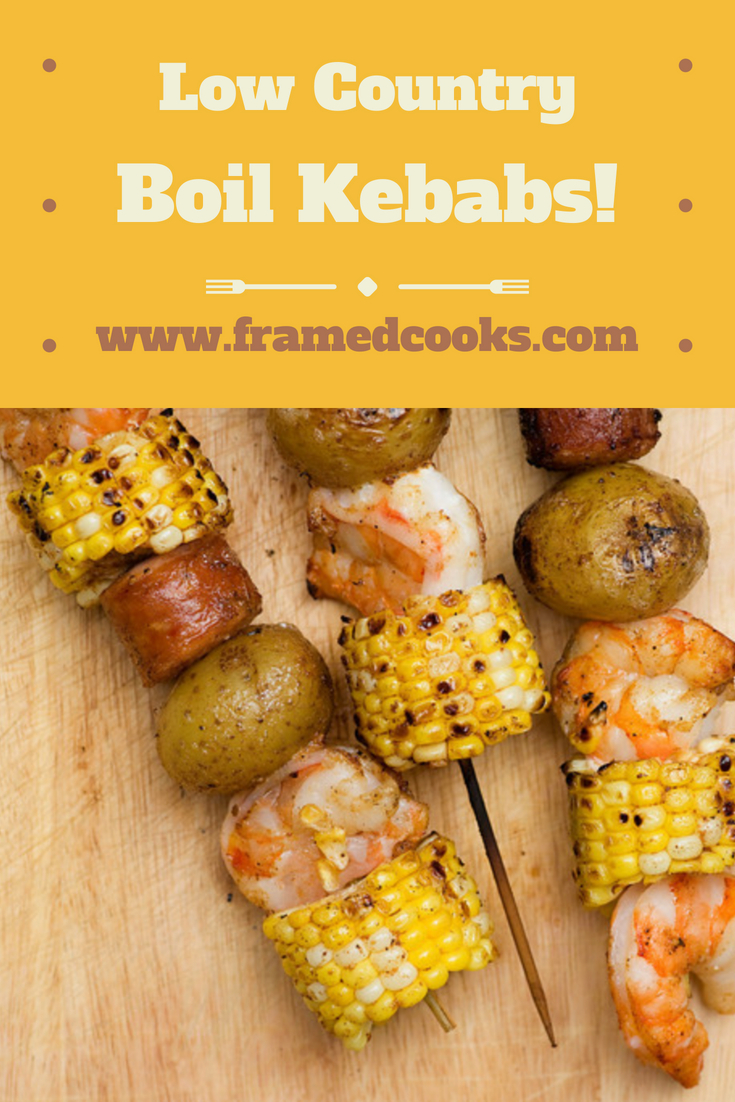 All the delicious ingredients of this traditional Southern dish - shrimp, corn and potatoes - in fun kebab form!  Try low country boil kebabs at your next barbecue!