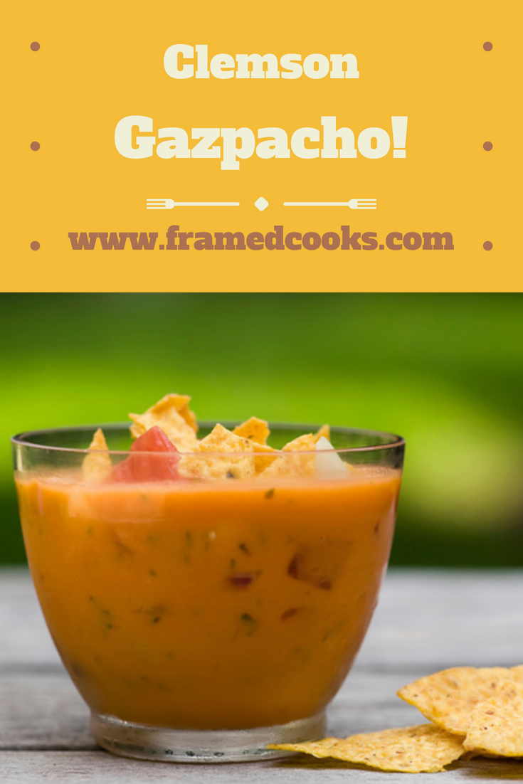 No matter what team you root for, you are going to love this cool orange Clemson gazpacho soup.  Full of veggies and a secret ingredient!