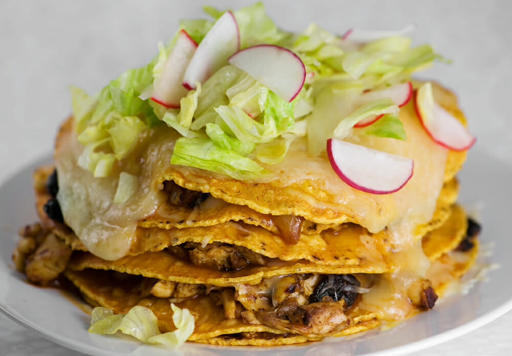 how to make stacked chicken enchiladas