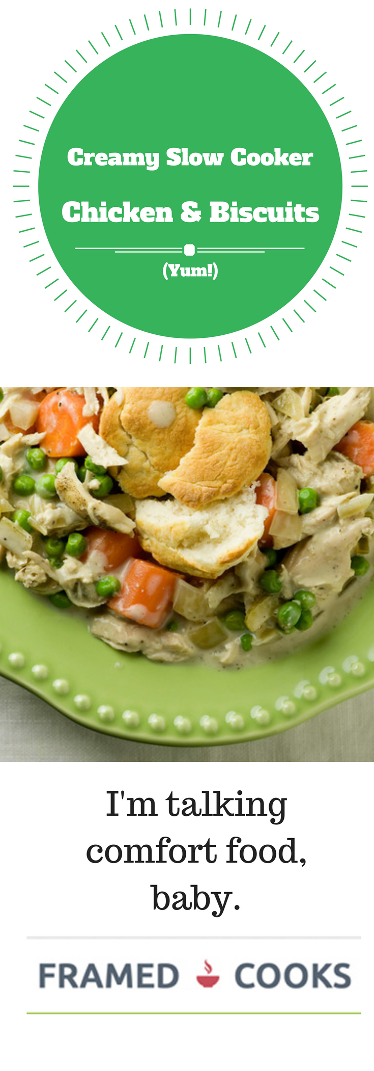 Creamy slow cooker chicken with biscuits is the easy and delicious supper you want to come home to!