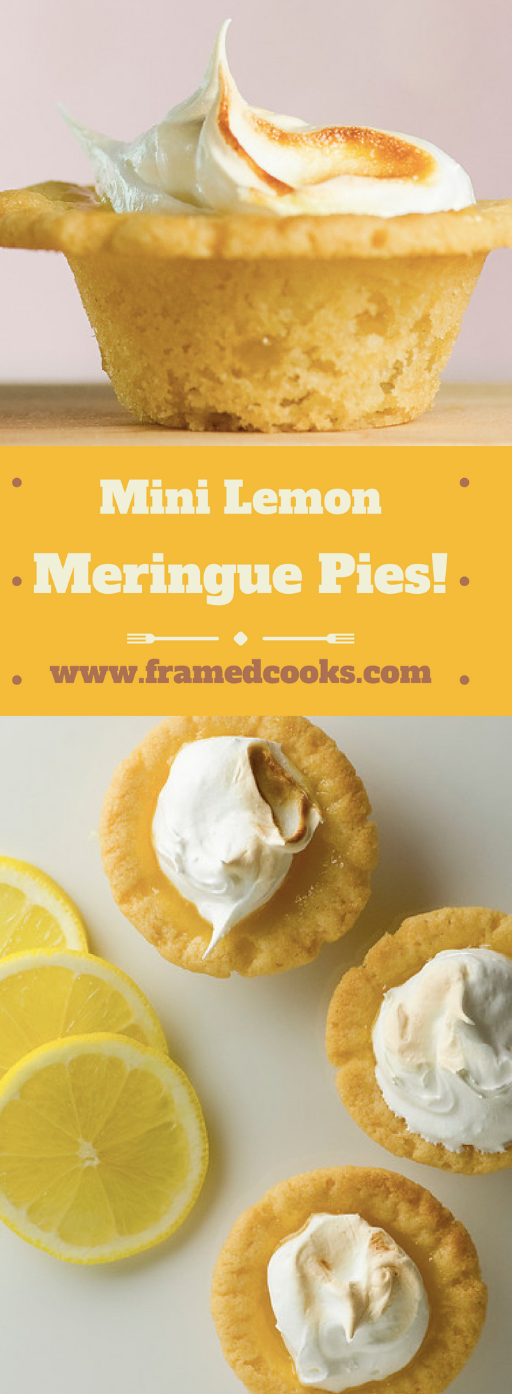This fun recipe for mini lemon meringue pies is perfect for when you don't want a whole big dessert. A sugar cookie dough crust makes them extra delicious!