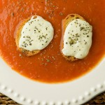 Tomato Soup with Mozzarella Croutons