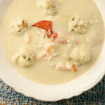 Cauliflower Soup with Lobster Dumplings