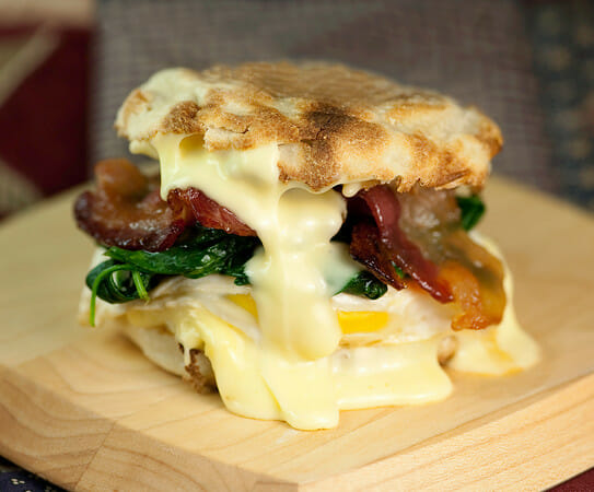 Egg Sandwich with Spinach, Brie and Maple BaconFramed Cooks