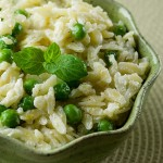 Orzo with Goat Cheese, Peas and Mint