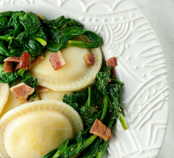 Ravioli with Baby Spinach and Bacon - Framed Cooks