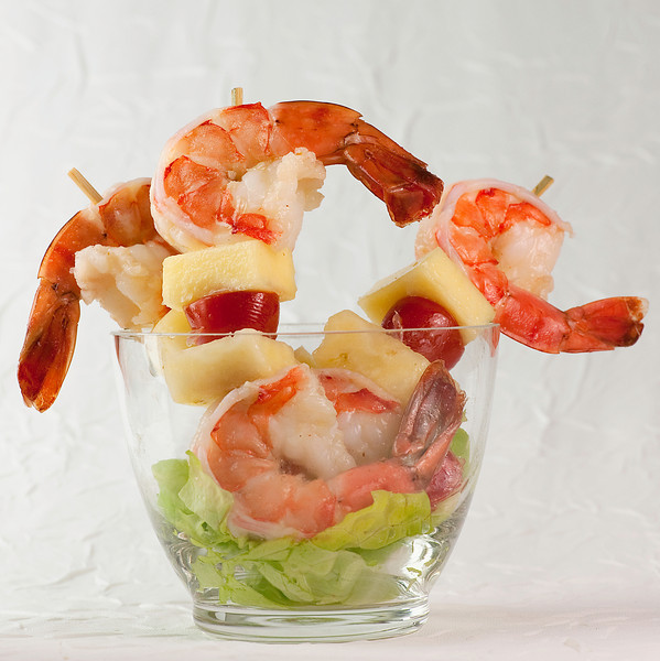 Shrimp and Pineapple Kebabs with Lime Viniagriette