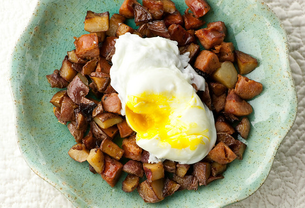 Andouille Sausage Hash with Poached Eggs - Framed Cooks