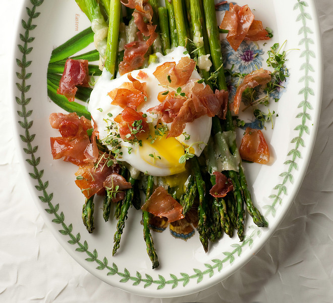 Roasted Asparagus with Crispy Prosciutto and Poached Egg