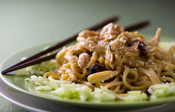 Cold Sesame Noodles with Chicken and Cucumbers - Framed Cooks