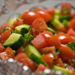 Watermelon Salad with Heirloom Tomatoes and Basil