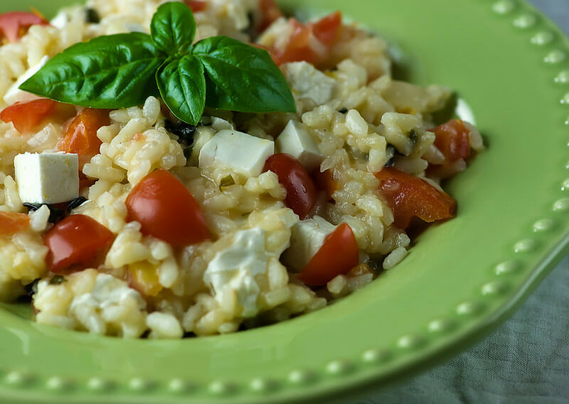 Risotto with Tomato, Basil and Mozzarella - Framed Cooks