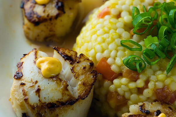 Blackened Scallops with Mango Tomato Couscous and Chili Aioli