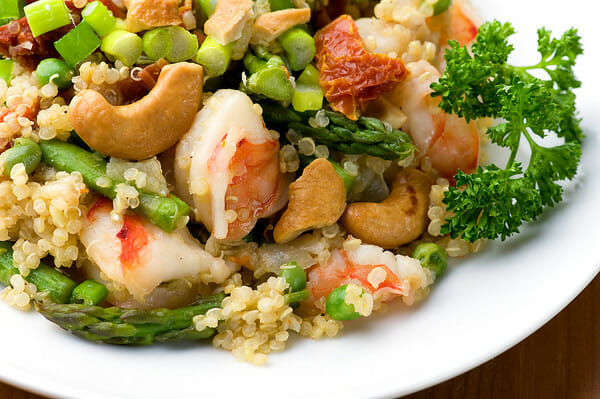 Warm Quinoa Salad with Shrimp and Asparagus - Framed Cooks