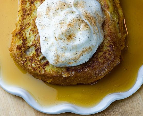 pumpkin walnut stuffed french toast