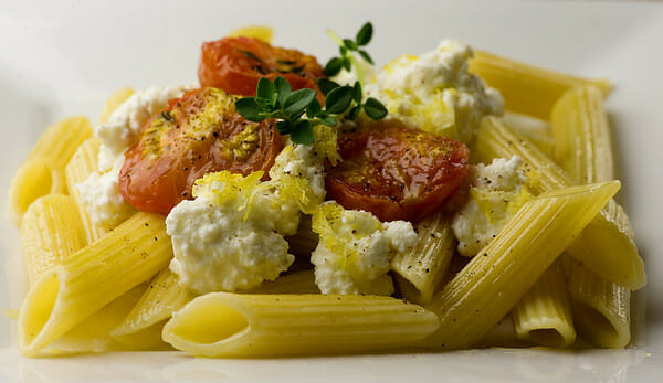 Penne with Roasted Tomatoes and Fresh Ricotta - Framed Cooks