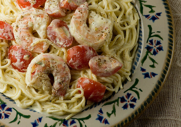 Pasta with Shrimp and Feta Cheese Sauce - Framed Cooks