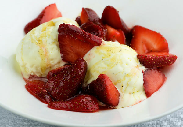 Mascarpone Semifreddo with Strawberries and Black Pepper Honey