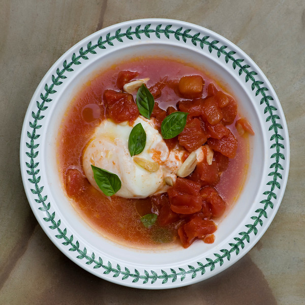 Tomato Soup with Poached Eggs