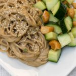 Sesame Noodles with Cucumber Cashew Salad