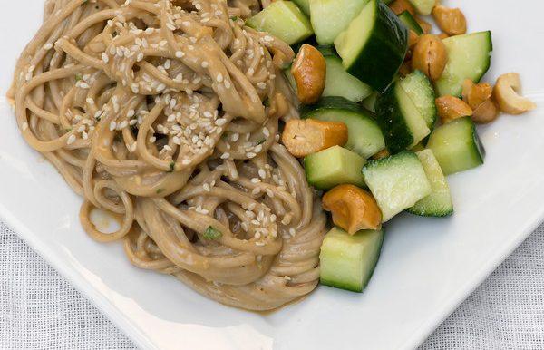 Sesame Noodles with Cucumber Cashew Salad
