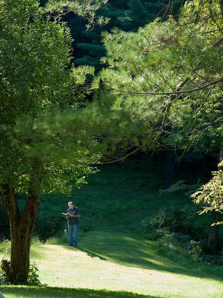 man reading in field