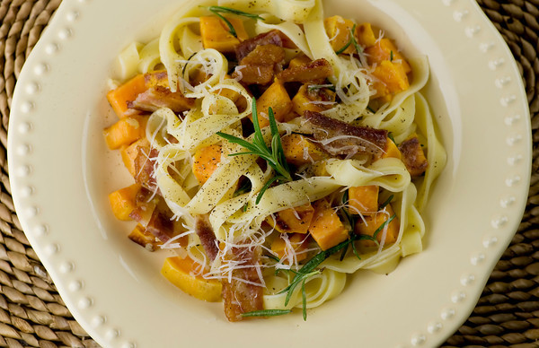 Fettuccine with Sweet Potatoes, Bacon and Rosemary - Framed Cooks