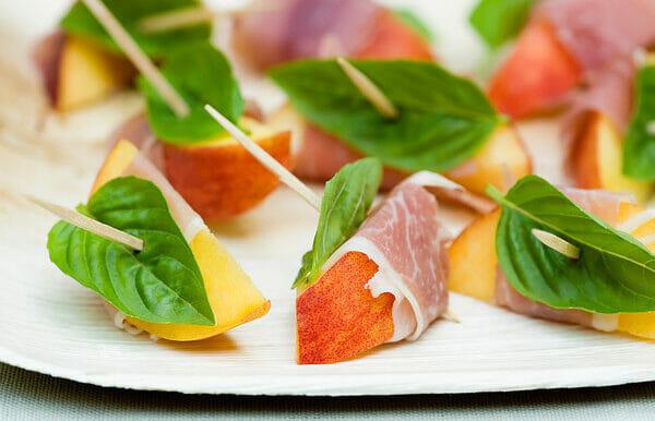 Spiced Peaches with Serrano Ham and Basil