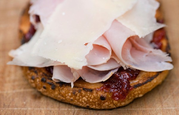 Ham and Parmesan Sandwiches with Raspberry Jam