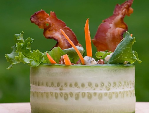 Cucumber Wrap Salad with Bacon and Blue Cheese