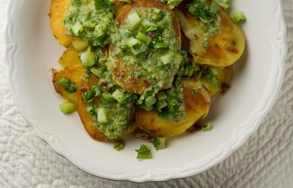 Crispy Potato Salad with Chimichurri Sauce
