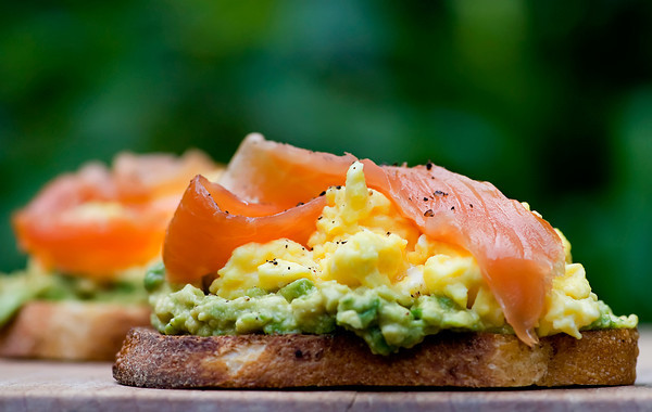 Open Face Sandwiches with Avocado, Egg and Smoked Salmon - Framed ...